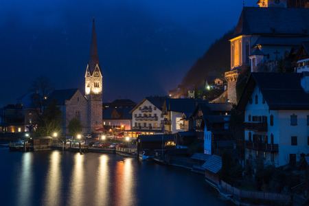 Classic view of Hallstatt village at night