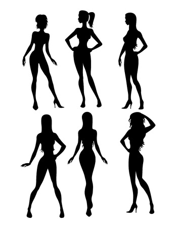 unrecognizable person: Illustration of black six girls silhouette  Illustration