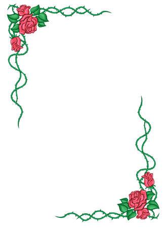 vertical image: Illustration of a floral frame on white Illustration