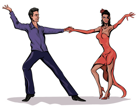 Illustration of a couple dancing on white Vector