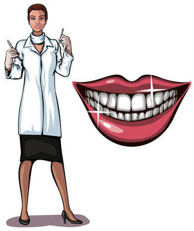 Illustration of a dantist and smile Vector