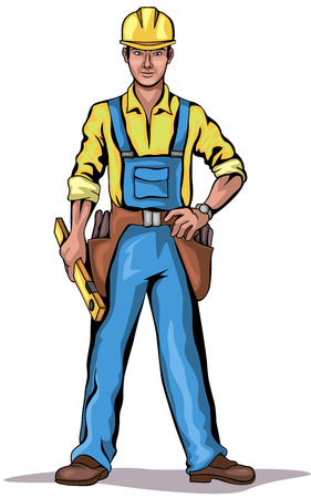 foreman: Illustration of a builder holding level Illustration
