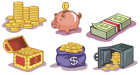 Vector set of a money and coins icons Vector