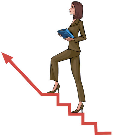 woman stairs: Vector illustration of a young woman on ladder