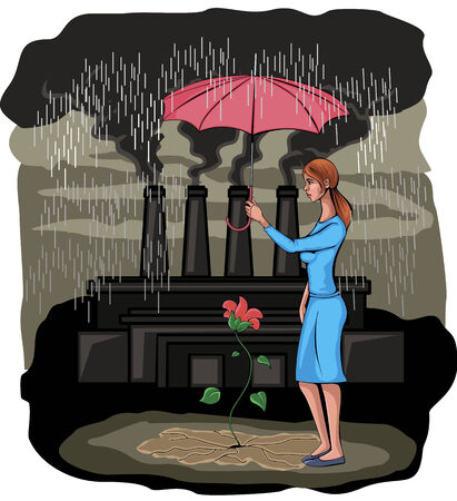 Vector illustration  of a girl protecting flower Vector
