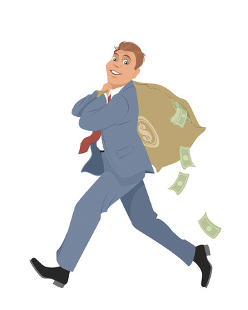 illustration  of a businessman with money bag Illusztráció