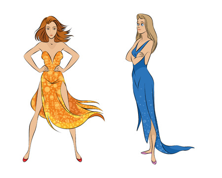water concept: illustration of girls - fire and water concept