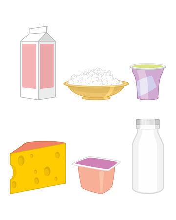 edam: illustration set of dairy products