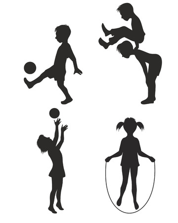 female child: illustration of playing children silhouette Illustration