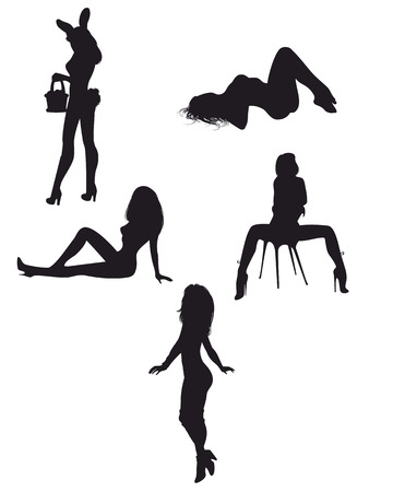 nude girl sitting: Vector illustration of a sexy girls silhouettes