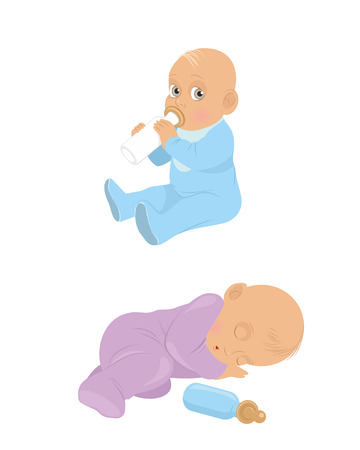 illustration of a two little babies Vector