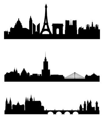 chapiteaux: Vector illustration d'un trois capitales silhouettes