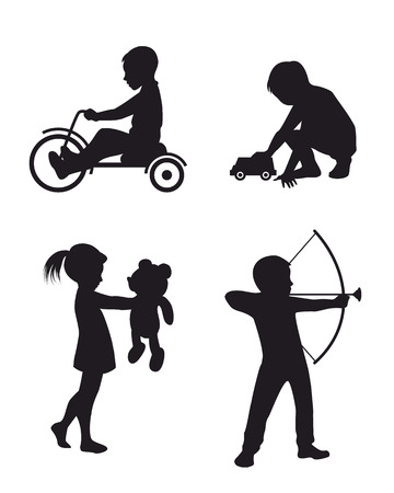 Vector illustration of a playing children silhouettes