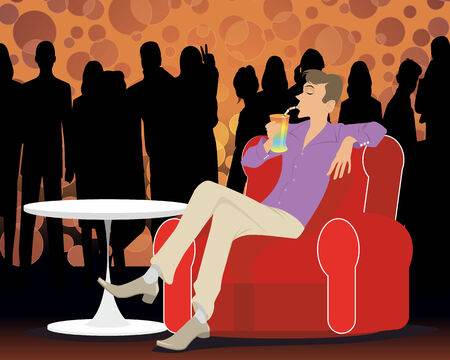 nightclub bar: Vector illustration of a young man at a party Illustration