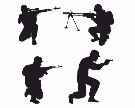 special forces: Vector illustration of a four soldiers silhouettes
