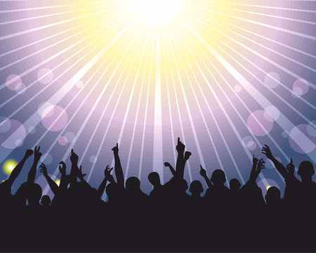 concert audience: Vector illustration of a crowd at concert