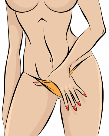 naked woman: illustration of a nude girl in panties Illustration