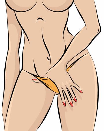 sexo femenino: ilustración de una chica desnuda en bragas