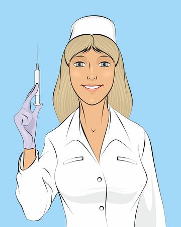 syringe inoculation: illustration of a nurse with a seringe Illustration