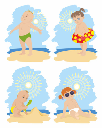 child smiling: illustration of a children on the beach