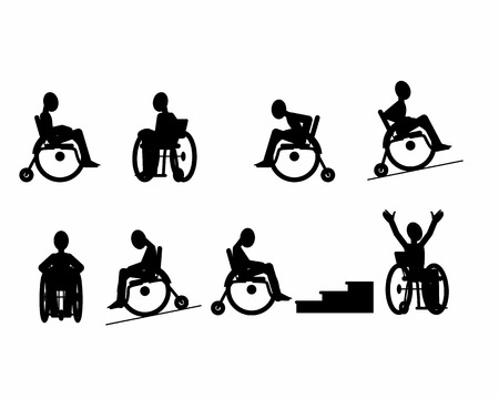 paralyze: Vector illustration of a set of disabled icons