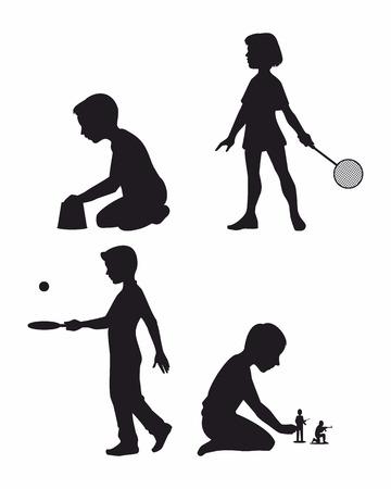 sandpit: ilustraci�n de un cuatro hijos establece siluetas