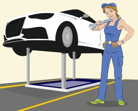 hydraulic platform: Ilustraci�n vectorial de un mantenimiento de veh�culos