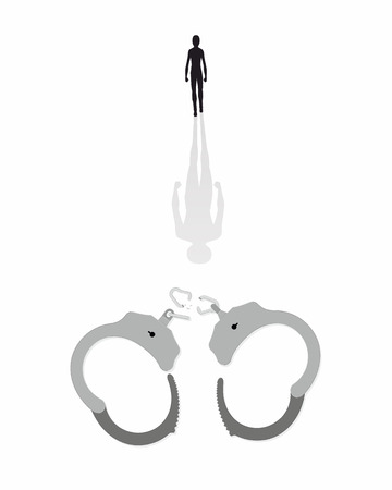 Vector illustration of a man freed from the shackles Vector