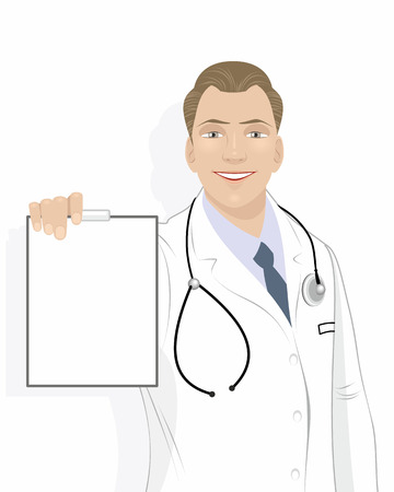doctor tablet: Vector illustration of a doctor with tablet