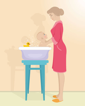 baby bath: Vector illustration of a mother bathes the child