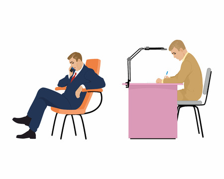 writing chair: Vector illustration of a two young man in office Illustration