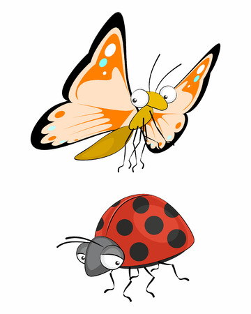cartoons animals: Vector illustration of a two insects, butterfly and ladybug