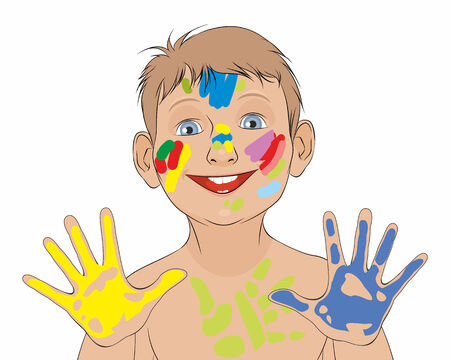 soiled: Vector illustration of a boy soiled in a paint