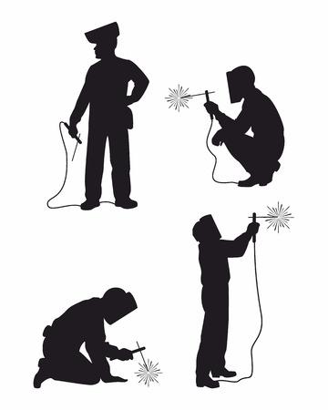 soldador: Ilustraci�n vectorial de un cuatro weldes establece ilhouettes