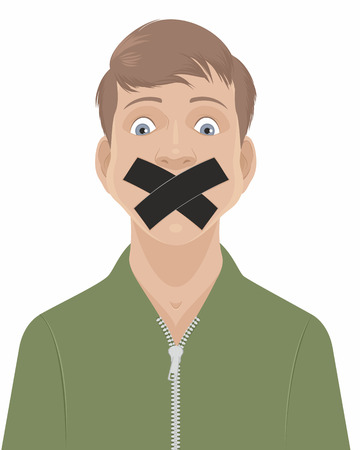 Vector illustration of a man with a taped mouth Ilustrace