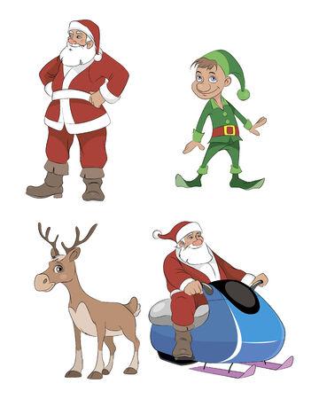 Vector illustration of a Santa, deer, elf Vector