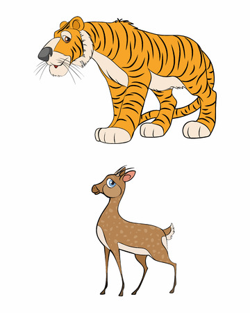 two animals: Vector illustration of a two animals - gazelle and tiger