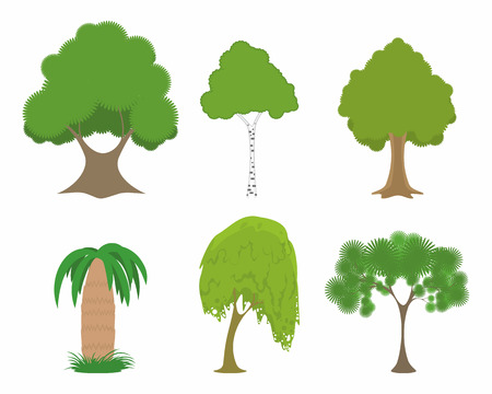 fertile: Vector illustration of a green trees set