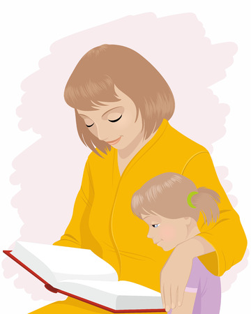 teaches: Vector illustration of a mom teaches daughter to read
