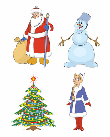 snow maiden: Vector illustration of a grandfather Frost, Christmas tree, Snow maiden, snowman Illustration