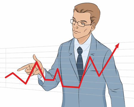 trading board: Vector illustration of a businessman making presentation with graph
