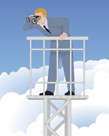 Vector illustration of a farseeing businessman Illustration