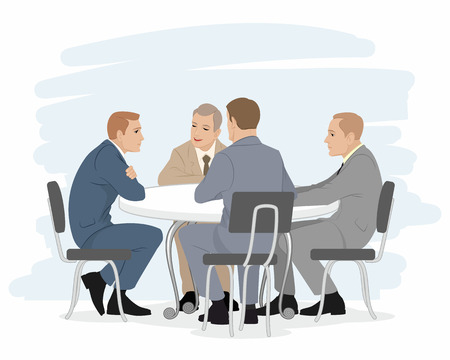focus group: Vector illustration of a four businessmen negotiations Illustration