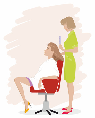 Vector illustration of a girl in hairdressing salon Vector