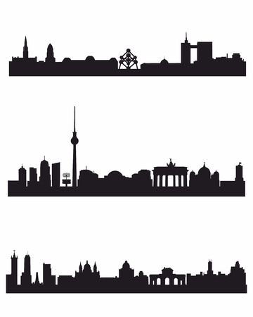 brussels: Vector illustration of a three capitals silhouettes