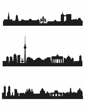 Vector illustration of a three capitals silhouettes Фото со стока - 33969881