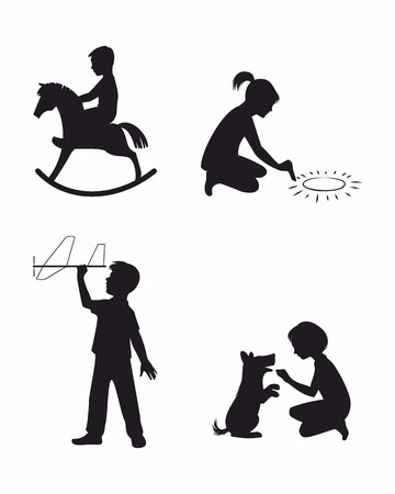 little dog: Vector illustration of a set of four children playing
