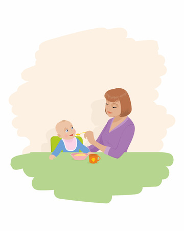 Vector illustration of a mother feeds child Vector