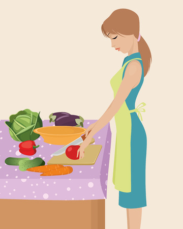 female chef: Vector illustration of a young girl cooking Illustration