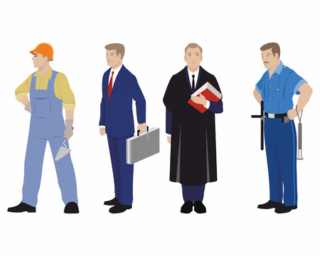 four people: Vector illustration of a four profession people Illustration